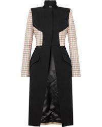 Alexander McQueen - Panelled Checked Wool-blend Coat - Lyst