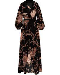 Myla - Kensington Gardens Floral-print Devoré-velvet Robe - Lyst