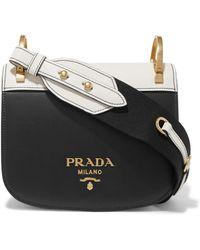 9bc2ac706f Prada - Pionnière Two-tone Leather Shoulder Bag - Lyst