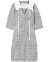 521bb07429 Sandy Liang - Leo Lace-trimmed Plaid Cotton And Crepe De Chine Dress - Lyst