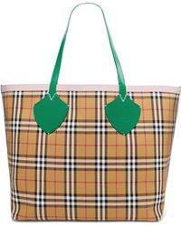 Burberry - Giant Reversible Leather-trimmed Checked Cotton-canvas Tote - Lyst