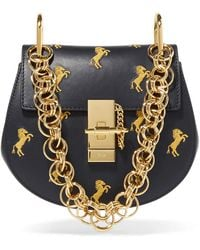 Chloé - Drew Bijou Mini Embroidered Leather Shoulder Bag - Lyst