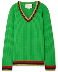 Gucci - Lurex-trimmed Cable-knit Wool And Cashmere-blend Jumper - Lyst
