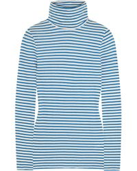 J.Crew | Tissue Striped Cotton-jersey Turtleneck Top | Lyst