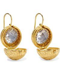 Larkspur & Hawk - Olivia Button Small Gold-dipped Quartz Earrings - Lyst