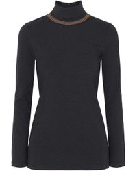 Brunello Cucinelli - Bead-embellished Stretch-cotton Jersey Turtleneck Top - Lyst