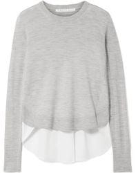 Veronica Beard - Alma Asymmetric Merino Wool And Poplin Sweater - Lyst