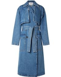 MSGM - Denim Trench Coat - Lyst