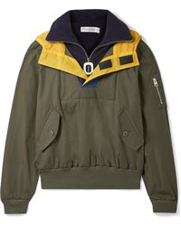JW Anderson - Hooded Shell-trimmed Layered Cotton-drill And Fleece Jacket - Lyst
