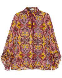 Etro - Ruffled Printed Silk-crepon Blouse - Lyst