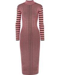 McQ - Striped Ribbed-knit Turtleneck Midi Dress - Lyst