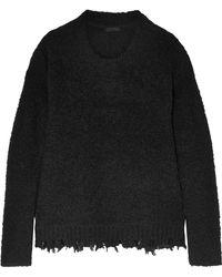 ATM - Frayed Bouclé-knit Sweater - Lyst