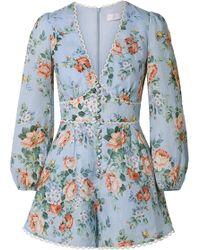 Zimmermann - Bowie Crochet-trimmed Floral-print Linen Playsuit - Lyst