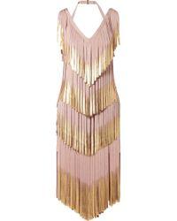 Hervé Léger - Fringed Metallic Bandage Dress - Lyst