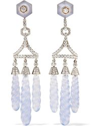 Fred Leighton - Collection 18-karat White Gold, Chalcedony And Diamond Earrings - Lyst