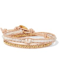 Chan Luu - Leather, Gold-plated And Agate Wrap Bracelet - Lyst