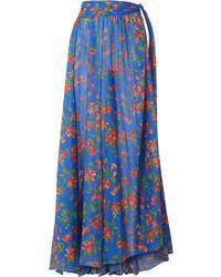 Caroline Constas - Hera Printed Cotton And Silk-blend Voile Maxi Skirt - Lyst