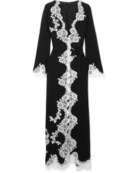 Carine Gilson - Chantilly Lace-trimmed Silk-georgette Robe - Lyst