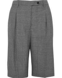 Prada - Prince Of Wales Checked Wool Shorts - Lyst