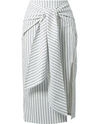 Jason Wu - Tie-front Striped Seersucker Skirt - Lyst