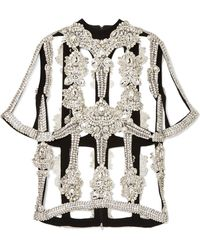 Christopher Kane - Crystal-embellished Organza And Crepe Top - Lyst