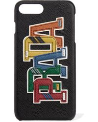 Prada - Appliquéd Textured-leather Iphone 7 Plus Case - Lyst
