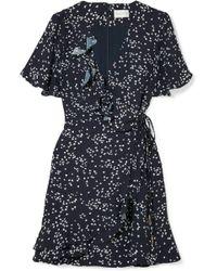Rebecca Vallance - Flores Ruffled Printed Crepe Wrap Mini Dress - Lyst