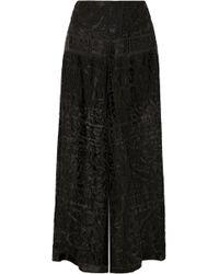 Anna Sui - Devoré-chiffon Wide-leg Trousers - Lyst
