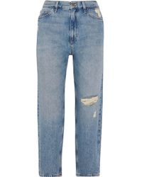 M.i.h Jeans - Jeanne High-rise Cropped Distressed Straight-leg Jeans - Lyst