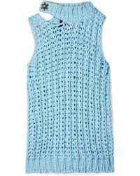 CALVIN KLEIN 205W39NYC - Cutout Crystal-embellished Open-knit Top - Lyst