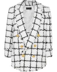 Balmain - Double-breasted Checked Tweed Blazer - Lyst