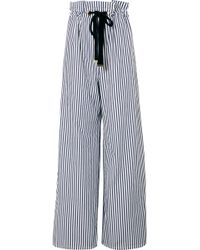 Mother Of Pearl - Striped Organic Cotton-poplin Wide-leg Pants - Lyst