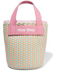 Miu Miu - Leather-trimmed Faux Leather Woven Tote - Lyst