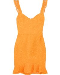 Rebecca Vallance - Baha Ruffled Lace Mini Dress - Lyst
