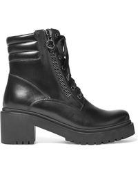 Moncler - Viviane Leather Ankle Boots - Lyst