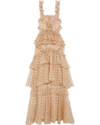 Alice McCALL - Yoko Ruffled Tiered Swiss-dot Silk-organza Gown - Lyst