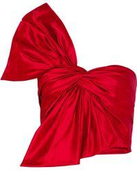 Reem Acra - One-shoulder Bow-embellished Silk-satin Bustier Top - Lyst