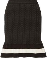 Boutique Moschino - Striped Metallic Jacquard-knit Mini Skirt - Lyst
