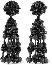 Oscar de la Renta - Falling Tassel Bead And Silk Clip Earrings - Lyst