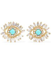 Suzanne Kalan - 18-karat Gold, Diamond And Turquoise Earrings - Lyst