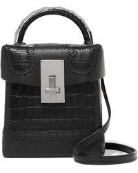 the VOLON - Great L Alice Laser-cut Croc-effect Leather Shoulder Bag - Lyst