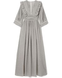 Three Graces London - Adeline Striped Cotton-blend Maxi Dress - Lyst