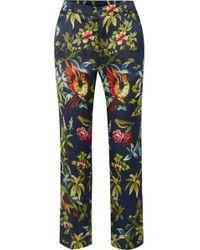 F.R.S For Restless Sleepers - Tartaro Printed Hammered-silk Straight-leg Pants - Lyst