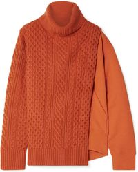 Sacai - Layered Wool And French Cotton-terry Turtleneck Jumper - Lyst