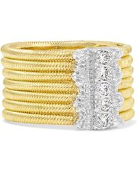 Buccellati - Hawaii 18-karat Yellow And White Gold Diamond Ring - Lyst