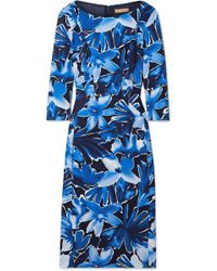 Michael Kors - Floral-print Stretch-cady Midi Dress - Lyst