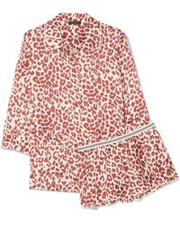 Love Stories - Joe And Edie S Leopard-print Satin Pajama Set - Lyst