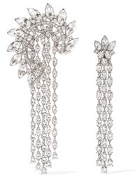 Oscar de la Renta - Silver-plated Crystal Earrings - Lyst