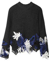 3.1 Phillip Lim - Appliquéd Ribbed Wool-blend Sweater - Lyst