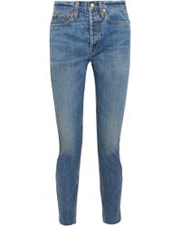 RE/DONE - Originals Relaxed Crop Frayed High-rise Straight-leg Jeans - Lyst